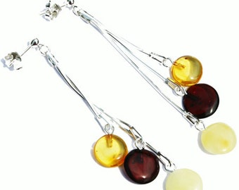 Stunning Baltic Amber Earrings - Triple Chain Tablets 5351 with sterling silver back finding. Our gift boxes add that extra touch