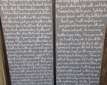 Wedding Vows SET of Signs His and Hers Vows 1st Anniversary Gift Custom Vows Personalized Gift First Anniversary Gift Bride Vows Groom Vows