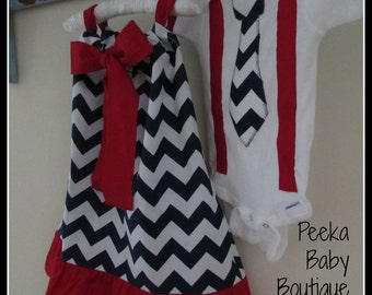 Matching Brother and Sister Outfit Set in Navy Chevron and Red (red,white and blue)
