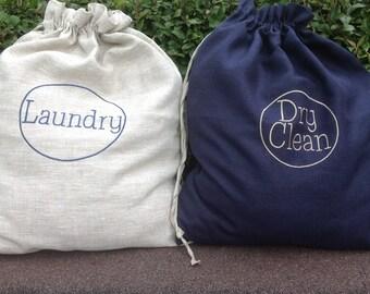 linen laundry bag / linen bag / dry clean bag  /laundry tote