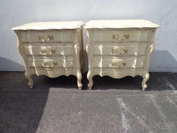2 french provincial rococo nightstands bedside tables storage for French nightstand bedside table