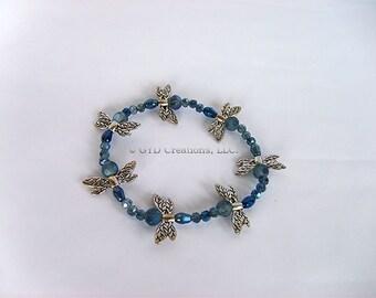 Dragonfly Stretch Bracelet; Blue Dragonfly Bracelet