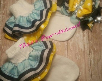 Boutique Bows and Socks with Bows Ruffle M2M Socks Custom Ruffle Socks Ruffled Socks Double Layer Ruffle Socks M2M Bows and Sock