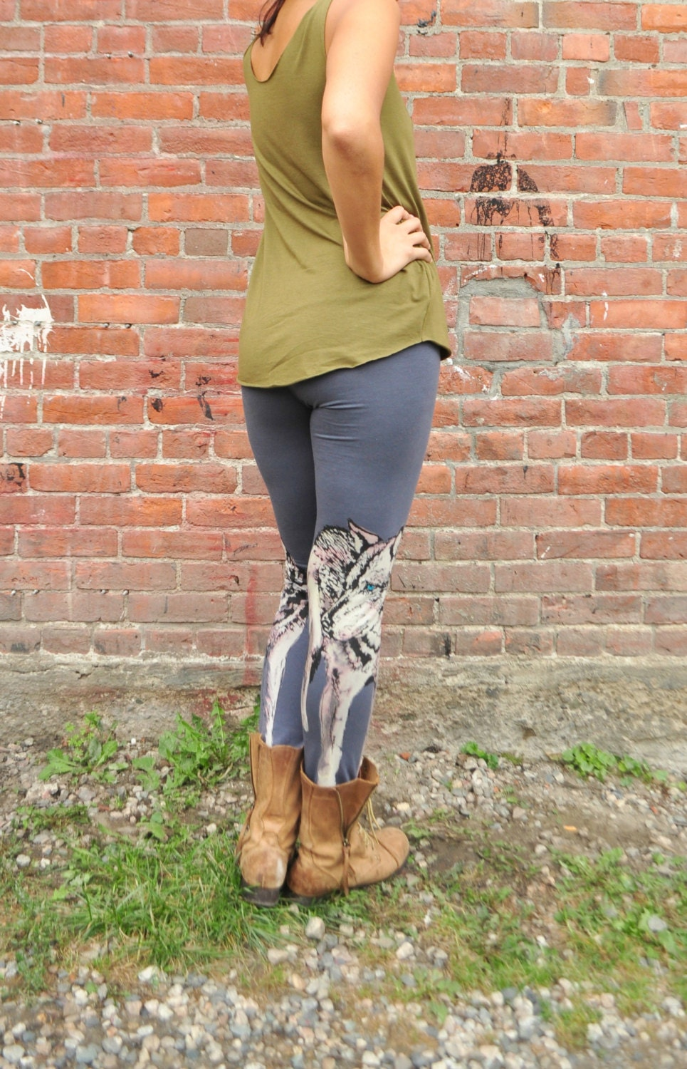 Grey Yoga Pants Wolf Print Hand Painted Print By