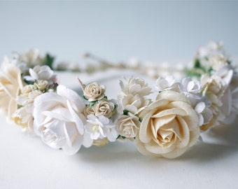 Paper Flower, Crown, Headband, Wedding, ivory, cream and white Color.