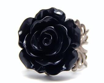 Black Rose Ring; Gunmetal Filigree Ring Band; Rose Jewelry; Goth Ring; Resin Rose Cabochon Ring; Adjustable Gunmetal Ring; Black Flower Ring