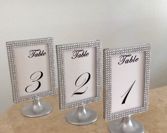 9 silver bling silver pedestal display photo frames 4x6 two sided perfect for table signs for weddings or special events