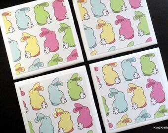 Bunny Coasters, Coasters, Tile Coasters, Drink Coasters, Easter Coasters, Coaster, Tile Coaster, Drink Coasters, Easter, Coaster Set of 4