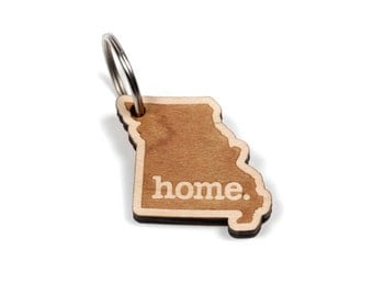 Missouri Key Charm by Home State Apparel: Laser Engraved Wood Keychain, MO