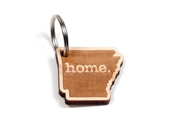 Arkansas Key Charm by Home State Apparel: Laser Engraved Wood Keychain, AR