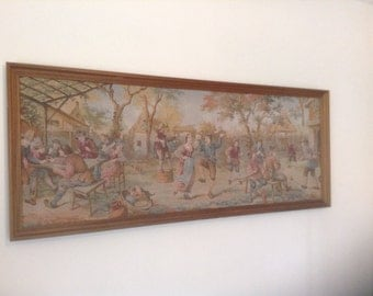 Large Completed Tapestry, Village Party Scene, Vintage from Belgium