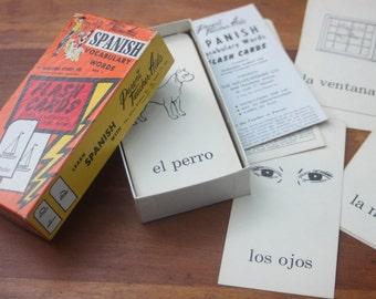Vintage Box Spanish Flash Cards / Word Cards / Paper Ephemera