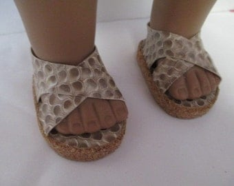 """18""""  Doll --Faux Snake Pleather Tan Sandals/ Dress up shoes-shown on my american girl doll"""