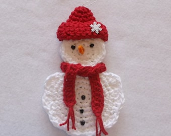 Crochet Snowman Ornament and Gift Card Holder with Red Hat