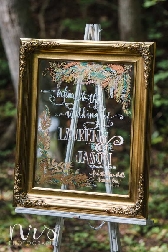 Welcome Wedding Sign On Framed Mirror Hand By