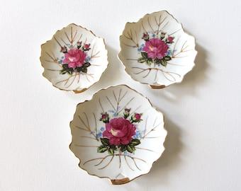 Set of three vintage porcelain leaf plates made in Japan / rose buds / gold trim