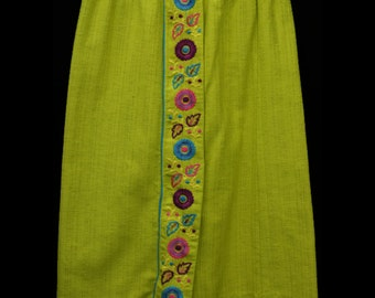 1970's Woodstock Embroidered Skirt (M/L Fit)