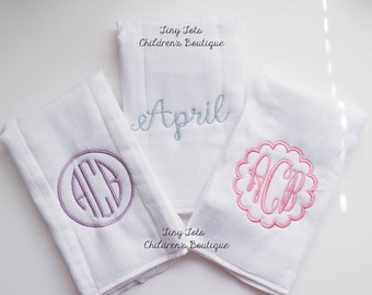 Set of 3 Monogrammed Burp Coths - Personalized Burp Cloths - Baby Girl Embroidered Burp Cloth Get Set - Cloth Diapers