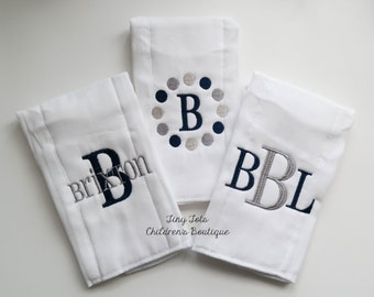 Set of 3 Monogrammed Personalized Baby Boy Burp Cloths - Embroidered Newborn Boy Cloth Diapers - Navy - Gray