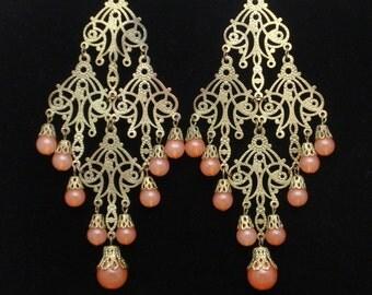 """Bohemian Filigree Earrings 5"""" Long Pink Beads Vintage"""