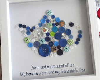 Pot of Tea Button Print - Teapot Wall Art House Warming Gift - Handmade
