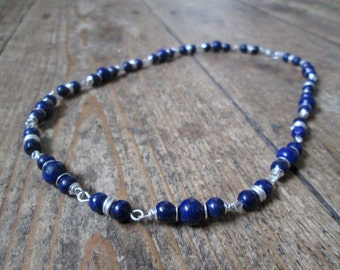 Lapis Lazuli Necklace - Gemstone and Wire Jewellery, Beaded Necklace, Lapis Lazuli Jewellery, Gift Jewelry