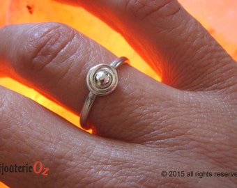 Galaxy ring, rosette ring, rings of Saturn, Sterling Silver Rosette ring Handmade by BijouterieOz.