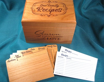 Recipe Box, Personalized, wood with Recipe Cards and Dividers