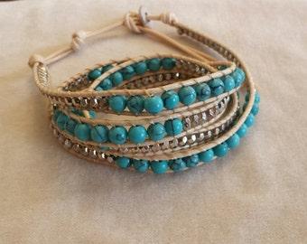 Turquoise Natural Stone Wrap Bracelet