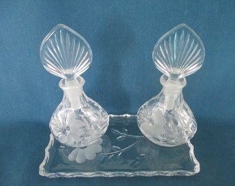 Vintage Princess House Perfume Bottles & Vanity Tray Vintage Dresser Home Decor Collectible Glass Crystal  Gift For Her