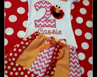 Girls Elmo Birthday Shirt, Bottom, or Outfit