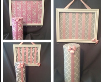 Design your own headband and bow organizer SET Several sizes combinations available.  Customizable 2 piece hair accessory organizer set*.