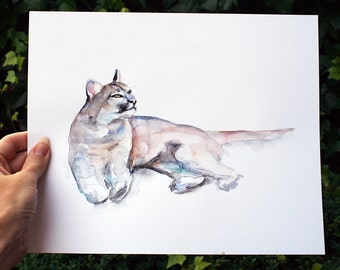 Original mountain lion Watercolor painting  - animal painting - Cougar watercolour - wild cat - American animal - mountain lion Art