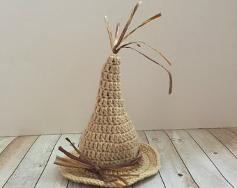 Crochet Scarecrow Hat, Photography Prop - made to order