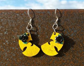 Yellow Wutang & Black Rose Earring