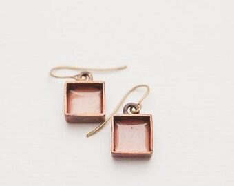 Handmade copper earrings, copper jewelry, chandelier earrings, square earrings, small earrings, beige, minimal style