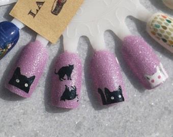 Nail Decal : Black Cats Water Nail Decals
