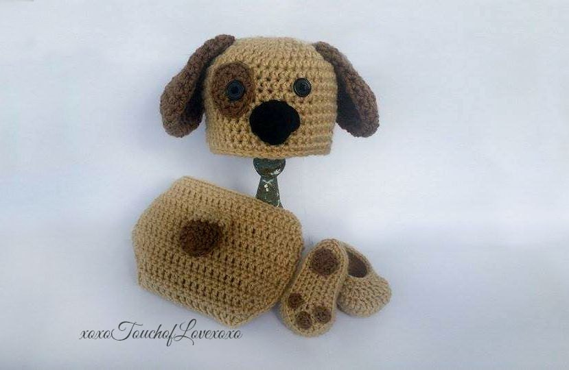 Crochet Dog Hat And Diaper Cover Pattern : SALE PATTERN: Crochet Puppy Outfit Dog Hat by ...