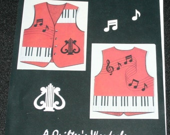 New A Quilter's Wardrobe Anne Colvin Music Vest Pattern Piano Keys Notes Musician