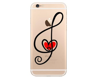 Treble Clef Heart iPhone 6 Decal iPhone 6 Sticker Phone Decal