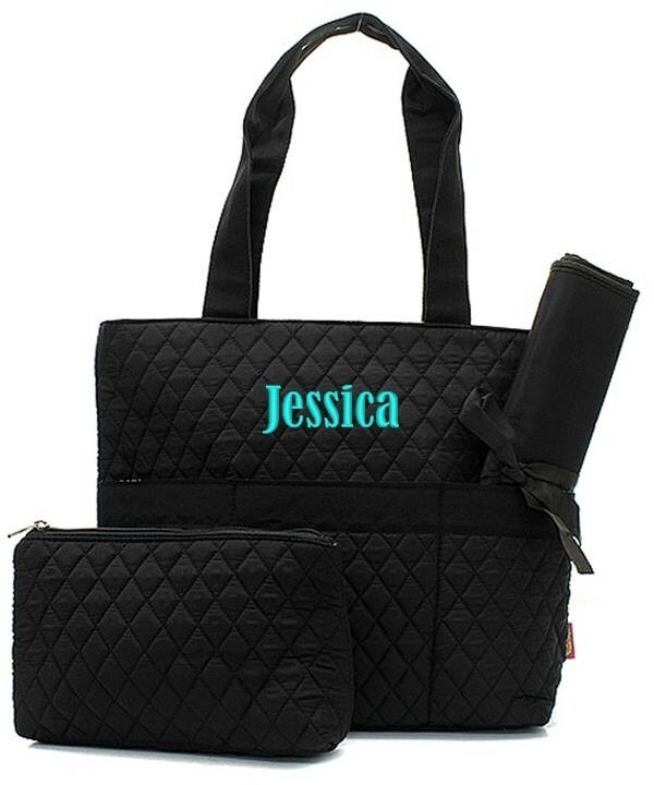 personalized diaper bag solid black quilted tote changing. Black Bedroom Furniture Sets. Home Design Ideas