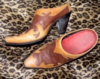 Awesome mule booties western rock n roll Cowboy Cowgirl slides 8.5