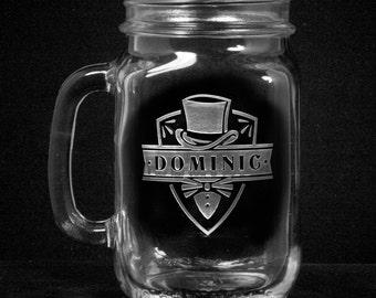 Mason Jar Mugs, Country Wedding Favors, Groomsmen Gifts Set of 5 (m52mason)