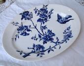 Antique french indigo blue transferware oval serving platter. Blue birds plate. LONGCHAMP. Antique ironstone serving platter.