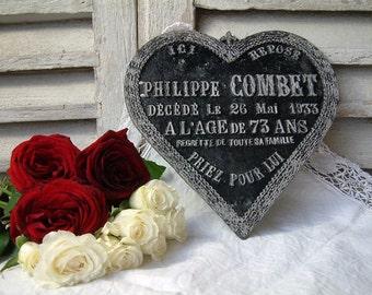 Antique french funerary plaque. Cast iron ornate heart. Memento mori. Tombstone plaque. 1930s