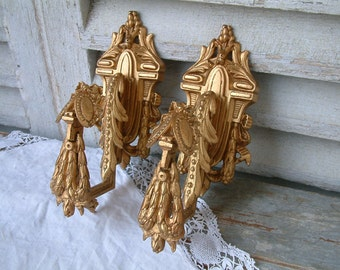 Antique french gilded bronze LARGE curtain tie backs. Set of 2. French chateau.