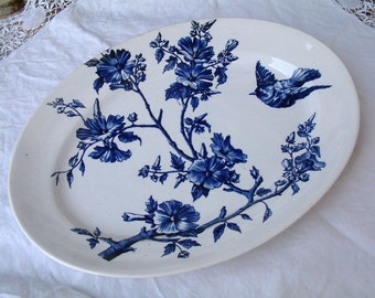 Antique french indigo blue transferware oval serving platter. Blue birds plate. LONGCHAMP. Antique ironstone serving platter.