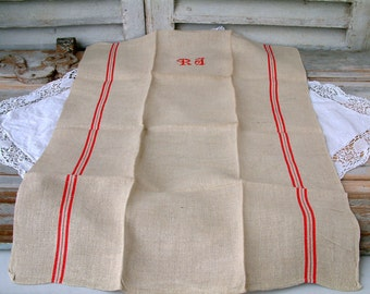 One French vintage linen grain sack tea towel with red stripe and monogram. Rustic french country kitchen. Never used. Monogram RJ.