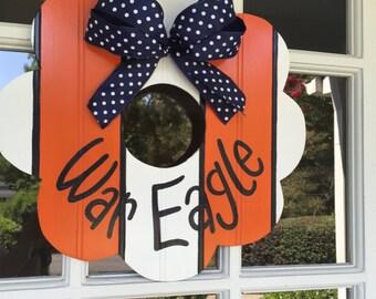 Auburn wreath, War Eagle Wreath, Orange and Blue, College Football Wreath