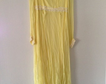 60's Vintage Canary Yellow Chiffon Hippie Prom Dress